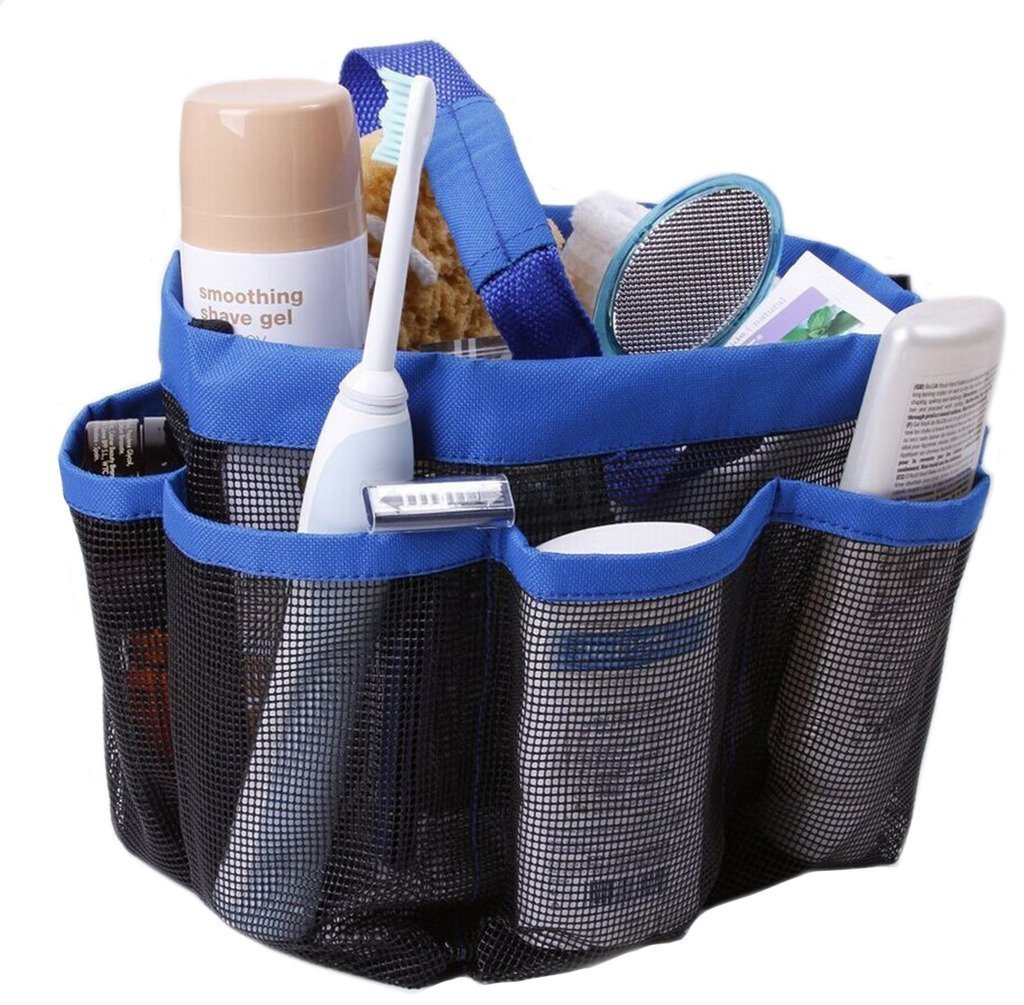 Agile-Shop Mesh Shower Caddy, 8 Pockets Quick Dry Hanging Toiletry Tote Bag for Bathroom Shower Organizer Accessories (Blue)