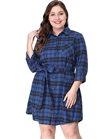 Agnes Orinda Women\'s Plus Size Button Down Long Sleeves Plaids Shirt Dress