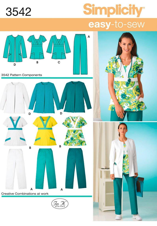 Simplicity 3542 AA - Patrones de costura para uniformes médicos de mujer (tallas grandes): Amazon.es: Hogar