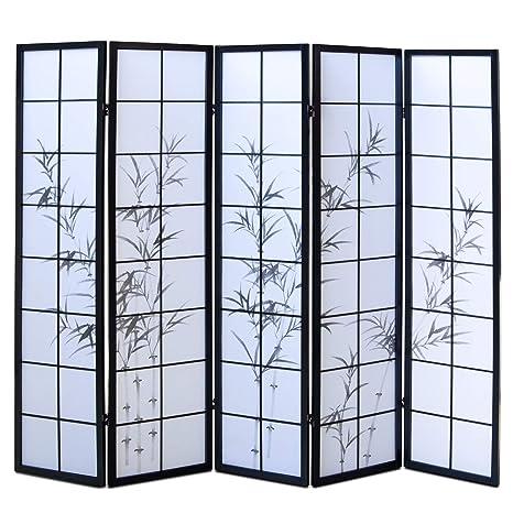Paravent Raumteiler Trennwand Sichtschutz Spanische Wand Bambus schwarz 4teilig