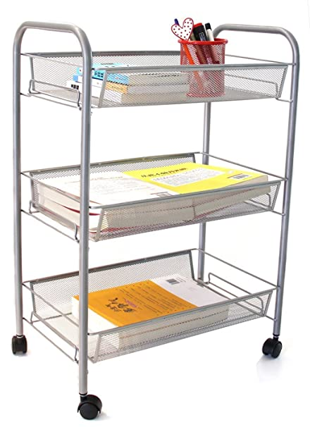 Beau ESYLIFE 3 Tier Metal Mesh Rolling Cart Utility Cart Kitchen Storage Cart On  Wheels, Sliver