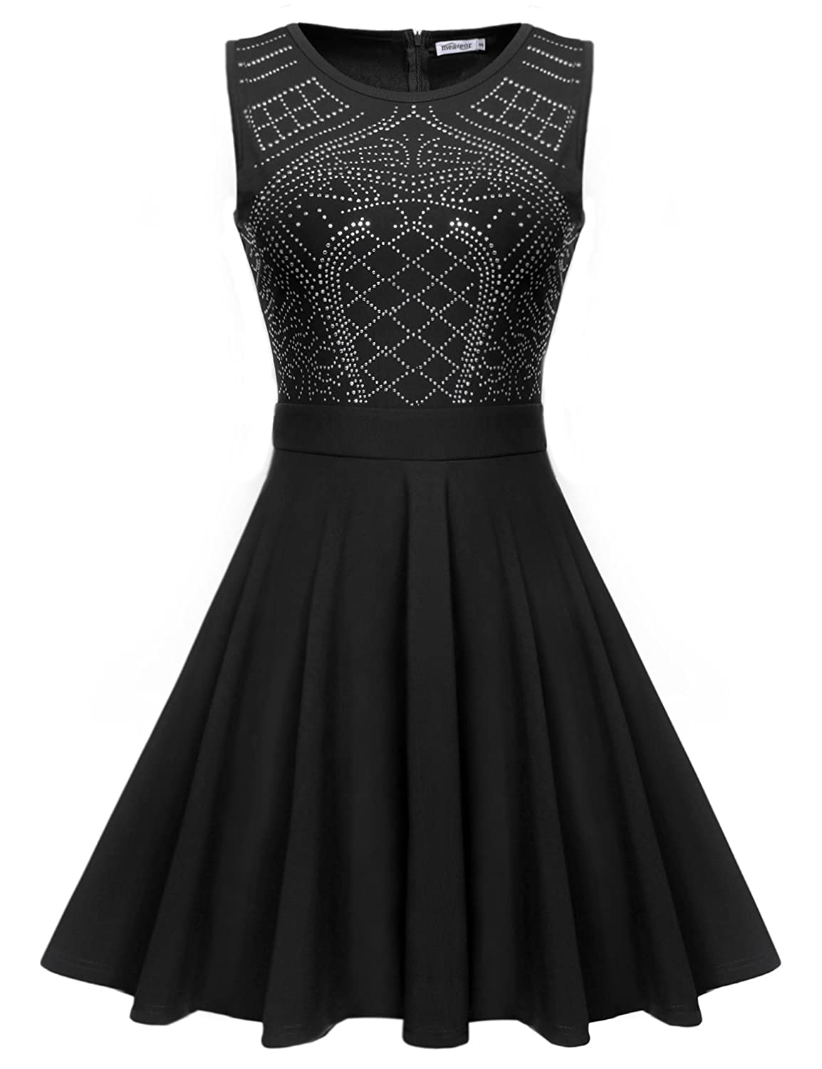 Meaneor Women's Sleeveless Rhinestone Embellished Fit and Flare Swing Dress
