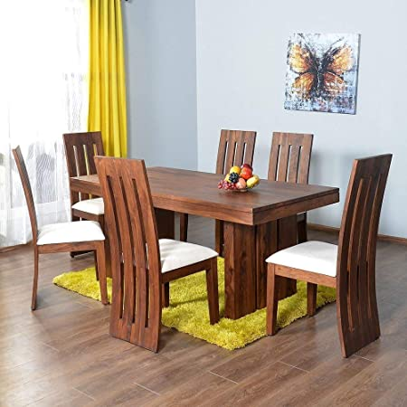 Nisha Furniture Sheesham Wooden Dining Table Six Seater | Dining Table Set with 6 Chairs | Home Dining Room Furniture | Natural Teak Finish