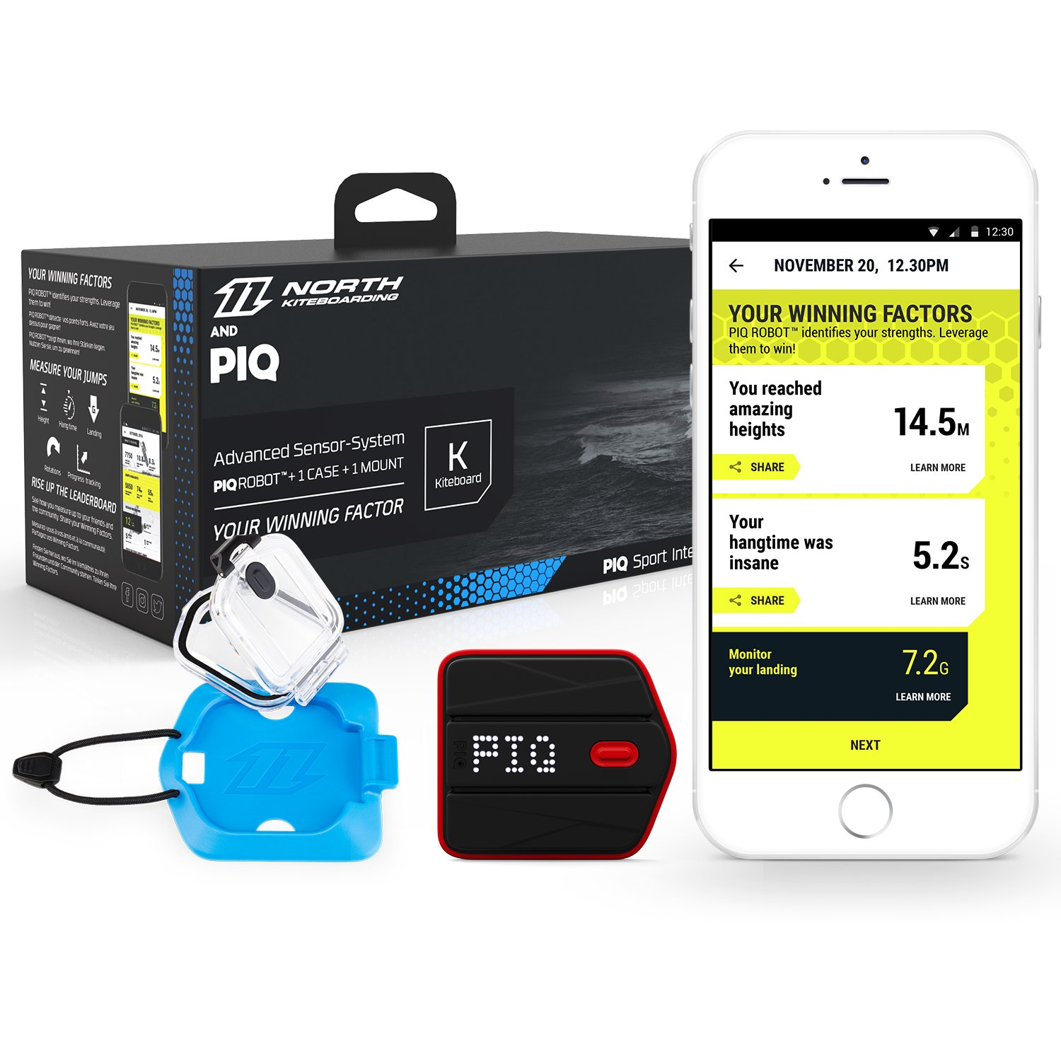 North Kiteboarding & PIQ Wearable Kiteboard Sport Tracker - Instant Jump Height Readout & Ride Analysis