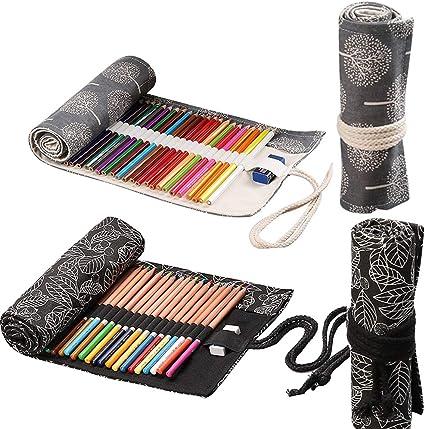 Schneespitze 2 Piezas 36 Agujeros Estuche para lápices de Lona,Estuche Enrollable para Lápices Portalápices de Lona Organizador para Envolver Lápices lápiz bolsa de almacenamiento: Amazon.es: Oficina y papelería