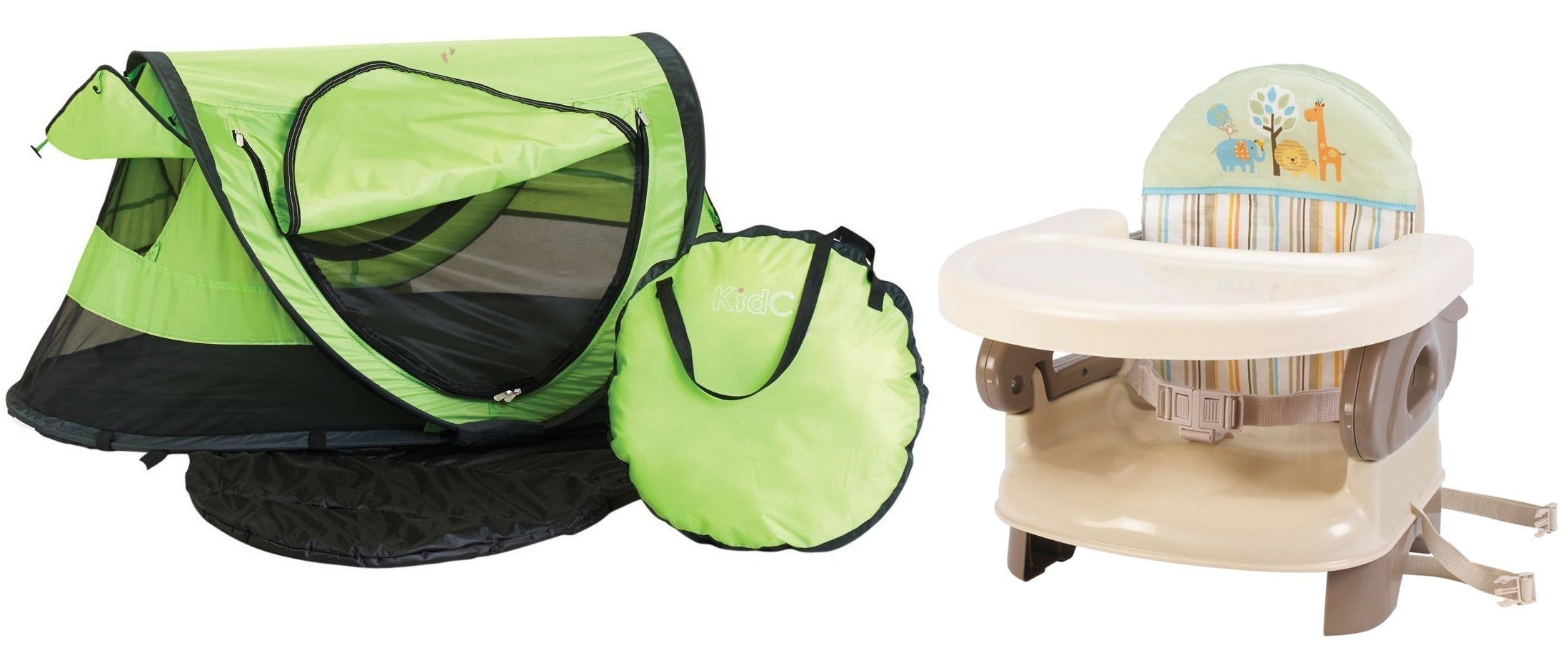 KidCo Peapod Plus Portable Travel Bed with Deluxe Comfort Booster Seat, Kiwi