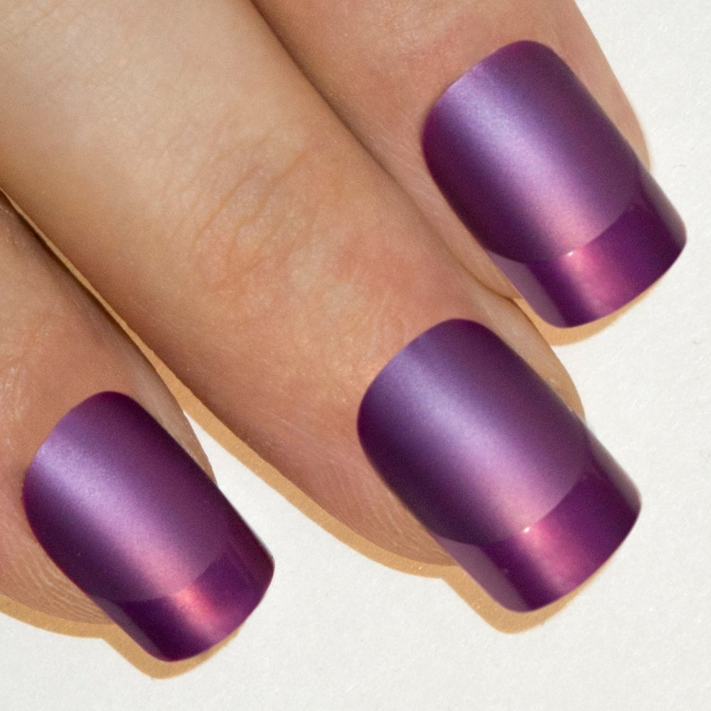 Amazon.com : False Nails Bling Art Purple Acrylic French Manicure ...