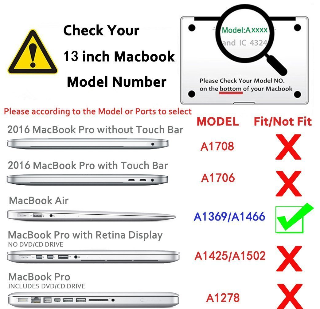 Carcasa r/ígida para MacBook Air de 13 Pulgadas RKINC Revestimiento de Goma, Tacto Suave
