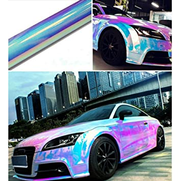 Hoho holographic rainbow neo chrome car vinyl wrap bubble free sticker film 54x20