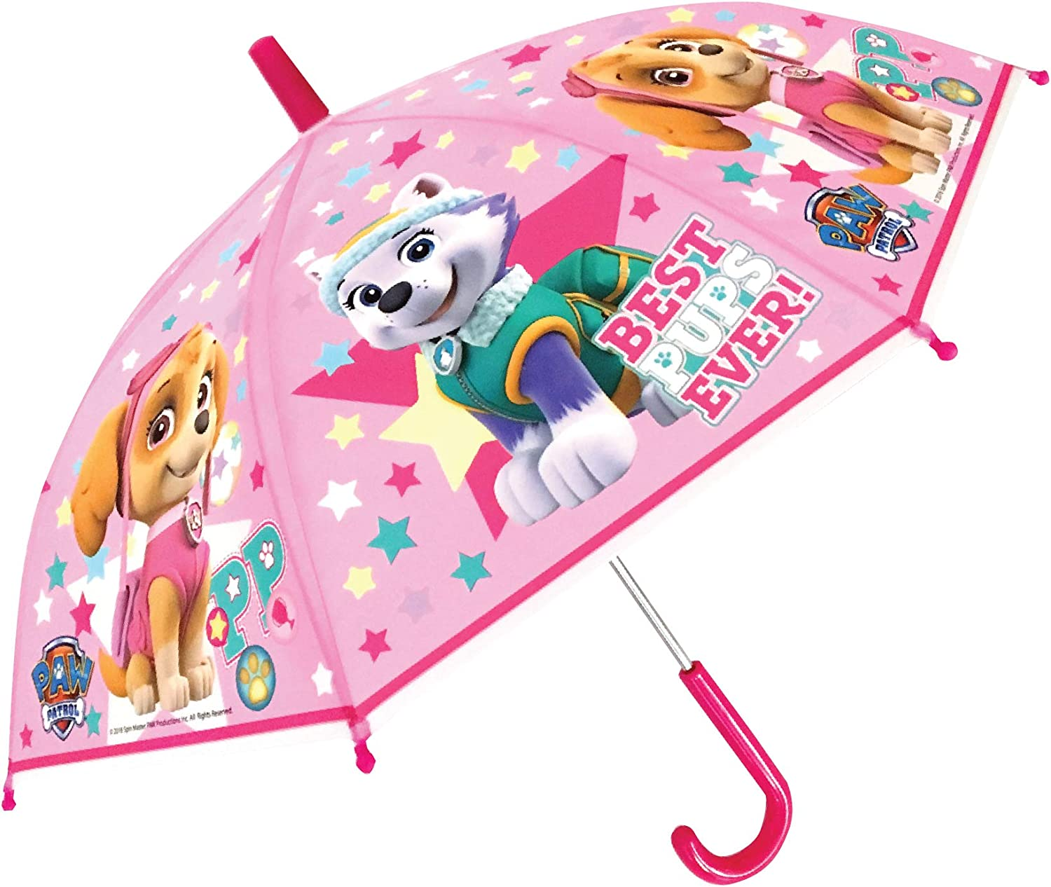 Pink Childrens Umbrella Girls Kids Official Paw Patrol Character Hook Shape