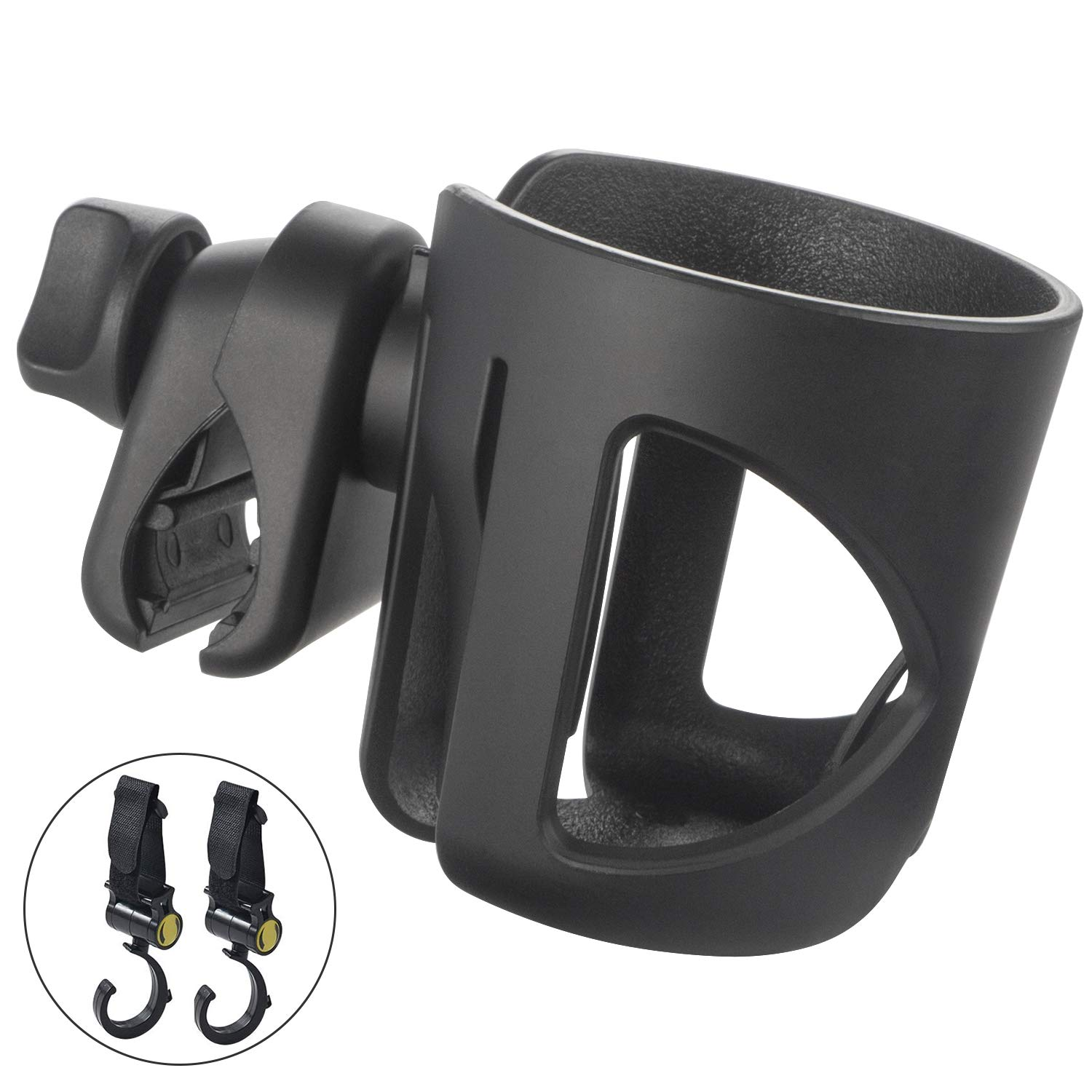 Stroller Cup Holder, Universal Baby Bottle Holder with Hook, Large Caliber Designed Cup Holder, 360 Degrees Rotation Cup Drink Holder for Baby Stroller Bicycle Pushchair Wheelchair Motorcycle. (Black)