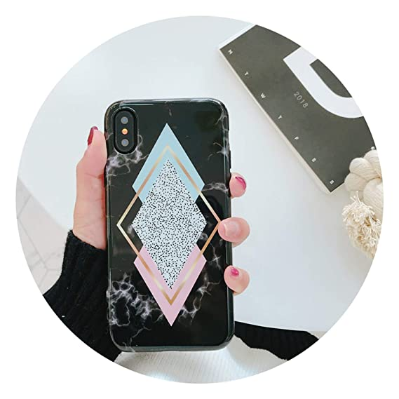 4b24757c2c30b1 Image Unavailable. Image not available for. Color  Geometric Marble Phone  Case for iPhone 7 8 Plus 6 ...