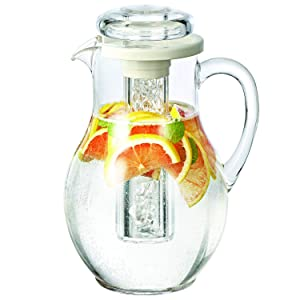 Service Ideas MWP30SB Pitcher with Ice Tube, 3.0 Liter (101.4 oz.), Ribbed Body