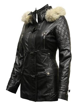 473bc8caa ABSY Womens Ladies Luxury Racoon Fur Hooded Black Leather Biker ...