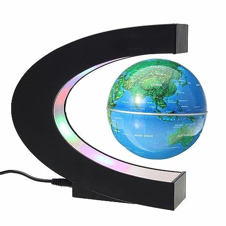 Amazon floating globe magnetic levitation rotating anti gravity floating globe magnetic levitation rotating anti gravity globe world map earth planet with c shape gumiabroncs Image collections