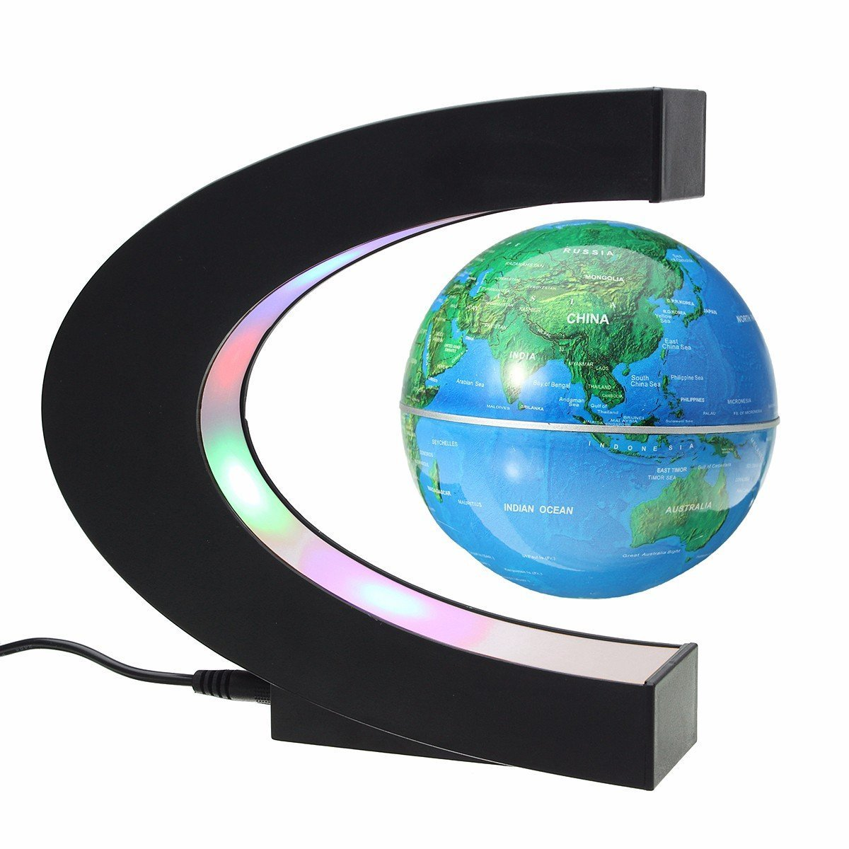 MECO 3'' Funny C Shape Magnetic Levitation Floating Globe World Map with Colored LED Light Anti Gravity Globe for Children Gift Home Office Desk Decoration Blue