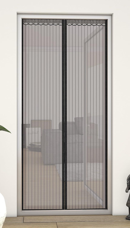 Schwarz Aiyaoo Fliegenvorhang mit Magnetverschluss 60x100cm Rahmen-Klettverschl/üsse Verst/ärkter Magnetkraft St/ärker als Normales Fliegengitter Mehrere Gr/ö/ßen f/ür Schwingfenster Kellerfenster