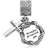 LovelyJewelry Bible Pray more worry less charm Christian Cross Charm Bead For Snake Chain Bracelets