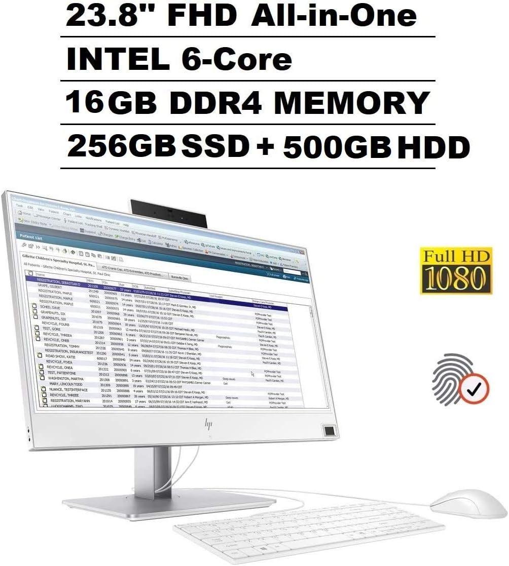 "2020 HP EliteOne 800 G4 23.8"" IPS FHD 1080p All-in-One AIO Business Desktop Computer (Intel Six-Core i5-8500, 16GB RAM, 256GB SSD+500GB HDD) Wi-Fi, Webcam, Fingerprint, Windows Hello, Windows 10 Pro"