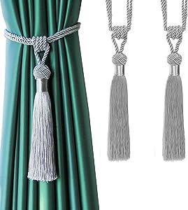 BEL AVENIR Curtain Tiebacks Hand-Woven Holdbacks Home Decorative Tassels Tiebacks (Silver, 2 Pack)
