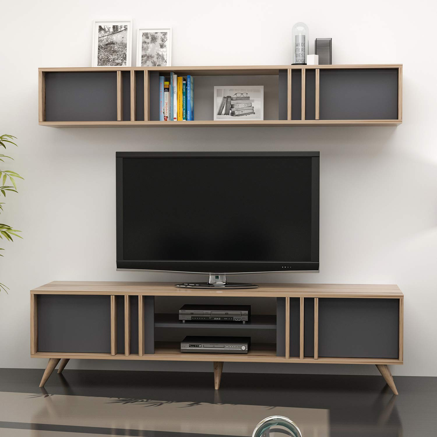 Bren Media Console Entertainment Table Wood Cabinet - Tv Table