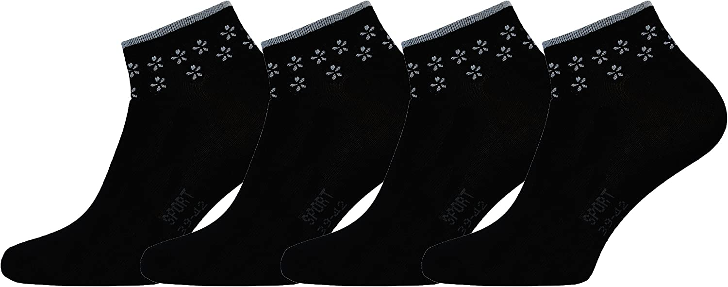 Footstar 8 Paar Damen Sneaker Schwarz und Weiss Socken S/öckchen Damensocken mit Blumenranke Black and White
