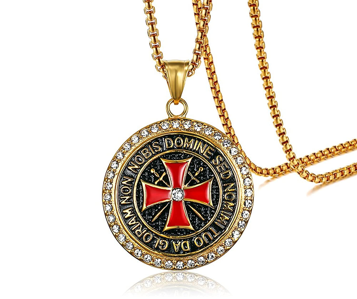 VNOX Gold Plated Stainless Steel Shiny Crystal The Knights Templar Cross Pendant Necklace for Men Women