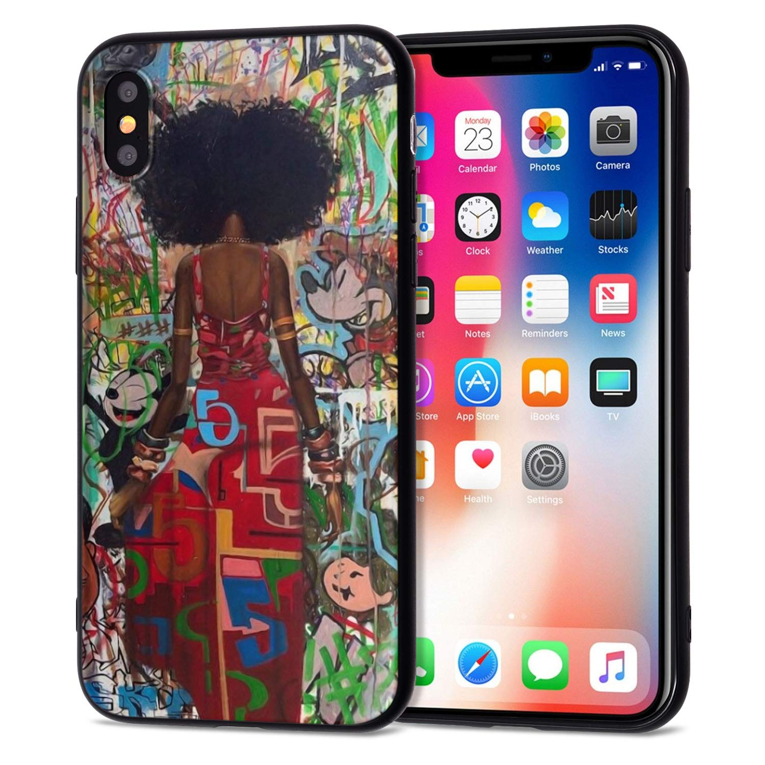 timeless design 8f534 5cd0a iPhone XR Case African American Afro Girls Women Slim Fit Shockproof Bumper  Cheap Cell Phone Accessories Thin Soft Black TPU Protective Apple iPhone ...