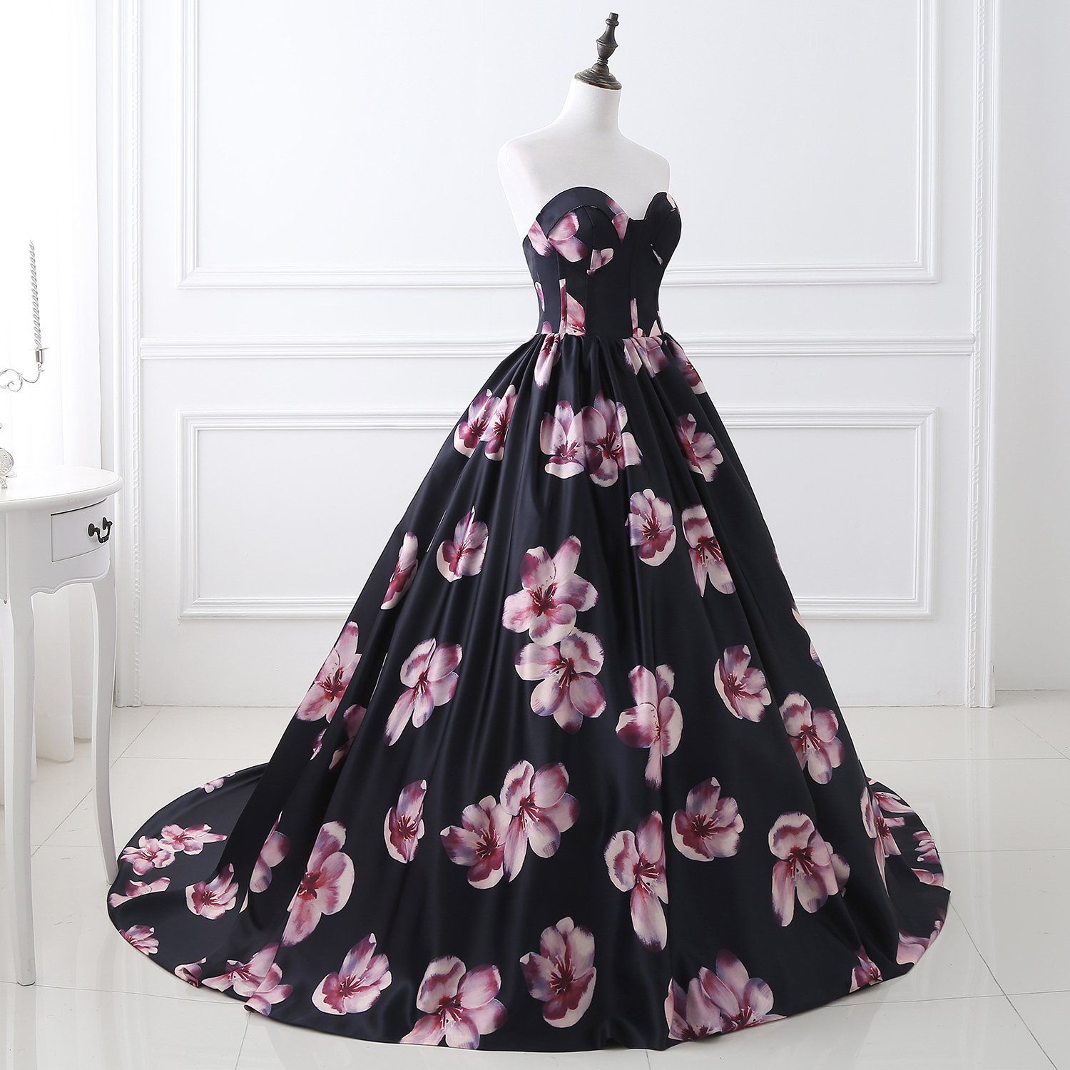 A Line Off Shoulder Plus Size Quinceanera Dresses 2019 Empire Waist Formal  Ball Gown Print Flower Full Length Mermaid Prom Dress for Women MSH051 Navy  ...