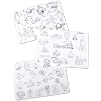LONGFITE Kids Placemats Coloring Doodle Fun Pad FDA Silicone Table Mat for Kids Drawing Painting Non Slip Washable and…
