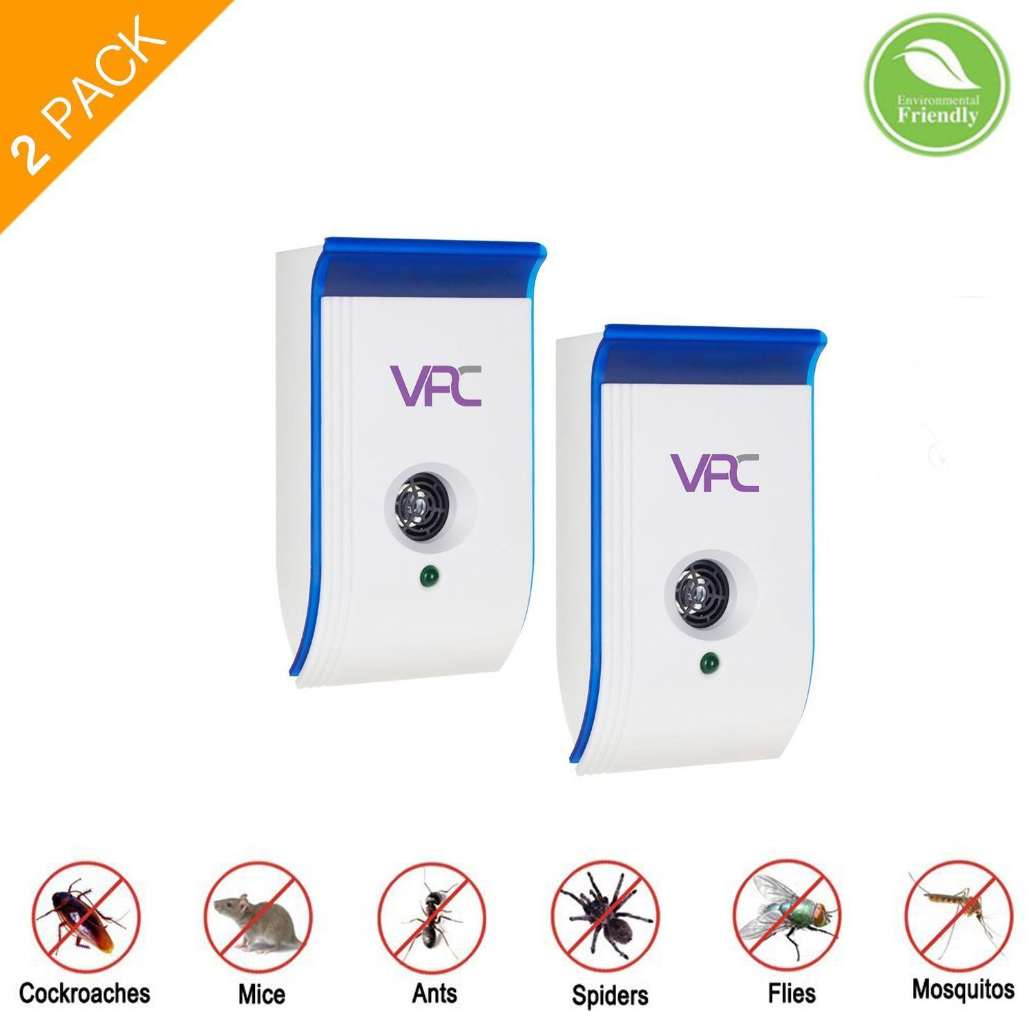 (Pack of 2) Veminate 6 IN 1 Ultrasonic Pest Repeller, Electronic Plug In Insect Repellent,Enhanced Indoor Pest Control with Night Light for Cockroach, Rodents, Flies, Moquitos, Ants, Spiders, Fleas, M Verminate