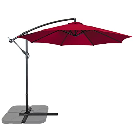 Best Choice Products Patio Umbrella Offset 10u0027 Hanging Umbrella Outdoor  Market Umbrella New Burgundy