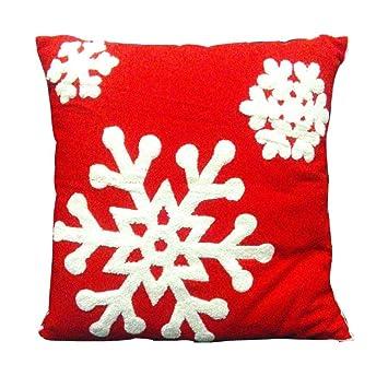 Malloom® Snowflower toalla bordado Funda de almohada Sofá cintura Throw Cojín Navidad Decoración (rojo): Amazon.es: Bricolaje y herramientas