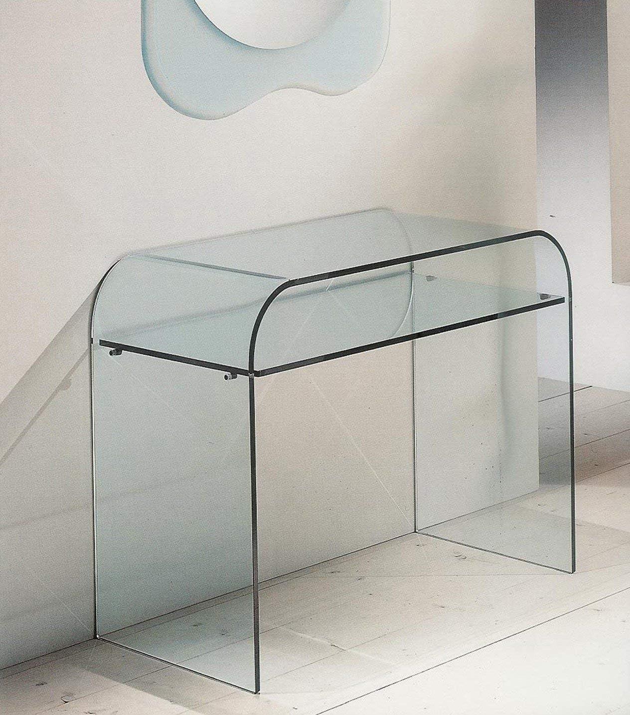6 mm Trasparente Luxury Z-90 50 x 40 x 58 Cm Spessore Vetro Bricozone Tavolino in Vetro Temperato Consolle con 2 Ripiani da Salotto Cucina Ingresso Sala da Pranzo Ufficio 12 mm Spessore Ripiani