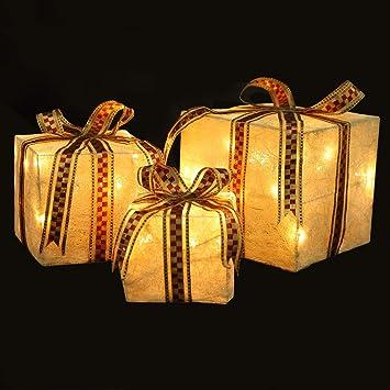 amazon com homegear christmas set of 3 pre lit gift present boxes