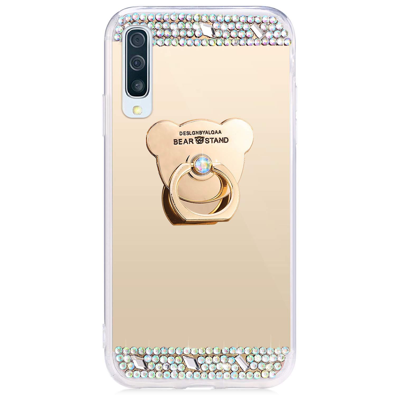 JAWSEU Funda Compatible con Samsung Galaxy A50 Brillante Brillo Suave Silicona TPU Gel Funda con 360 Grados Anillo Bling Glitter Sparkle Diamantes Ultra-Delgada Enchapado Protectora Carcasa,P/úrpura