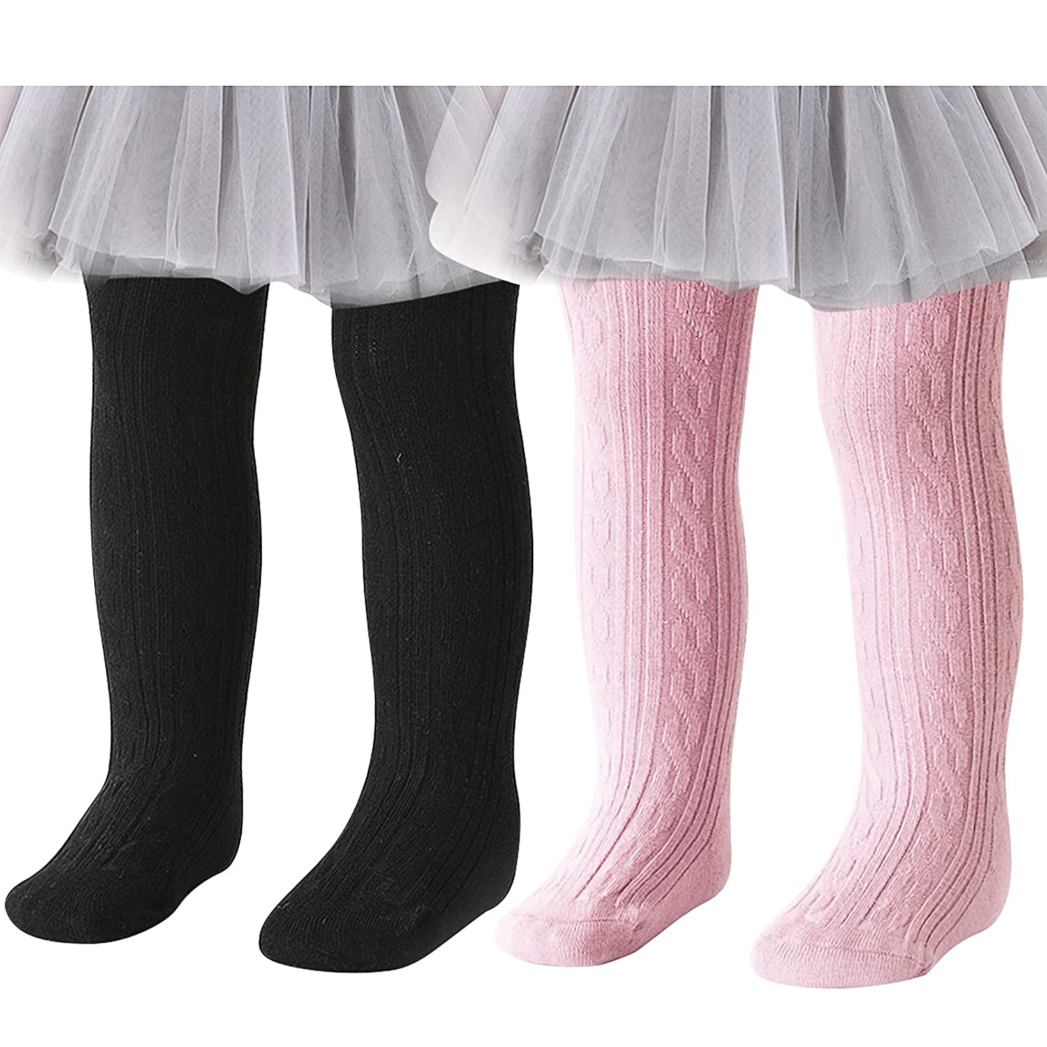 Baby Toddler Girls Tights Seamless Cable Knit Cotton Leggings Pants Stockings for Infant Baby Girl