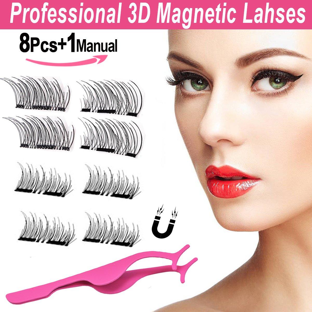 Ciglia Magnetiche 3D, BeautyLove Ciglia Finte Magnetiche Naturali, Estensioni Ciglia Professionali leggere Fatte a Mano (2 coppie/8 pezzi)