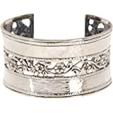 ♥925 Sterling Silver Hammered & Floral Lace Cuff Bracelet by Paz Creations Fine Jewelry, Made in Israel