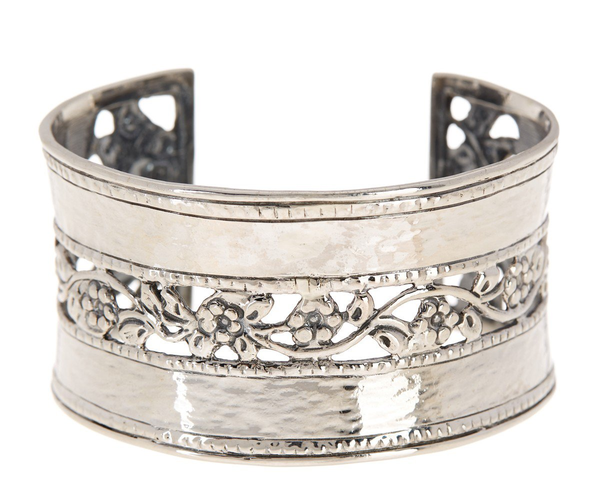 ♥925 Sterling Silver Hammered & Floral Lace Cuff Bracelet by Paz Creations Fine Jewelry, Made in Israel (7.25)