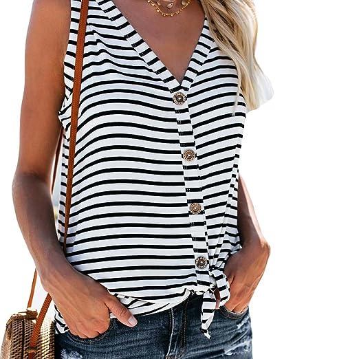f3ebb409 Women V Neck Tunic Blouse, Stripe Button Down Sleeveless Casual Henley Vest Tank  Top Shirt