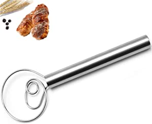 Skosod Danish Dough Whisk Bread Mixer-12 inch Stainless Steel Hook Dutch Dough Whisk-Hand Mixer Handle Kitchen Baking Tools for Bread Making, Hand Mixer and Blender Hook for Baking Cake, Sourdough (1)