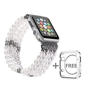 Solomo Apple Watch Bracelet, à la main de Luxe Bijoux Perle Artificiel de  Replacement élastique 6e141d679a1