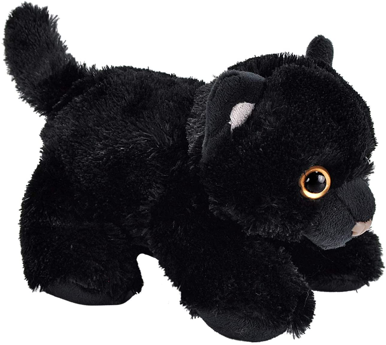 Wild Republic Black Cat Plush, Stuffed Animal, Plush Toy, Gifts for Kids, Hug'Ems 7""