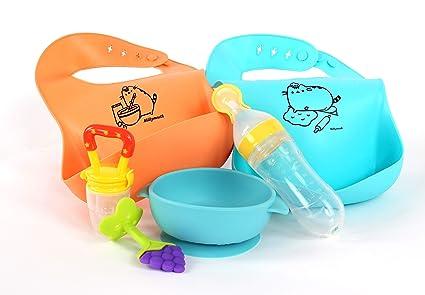 Juego de alimentación para bebé, baberos de silicona ...