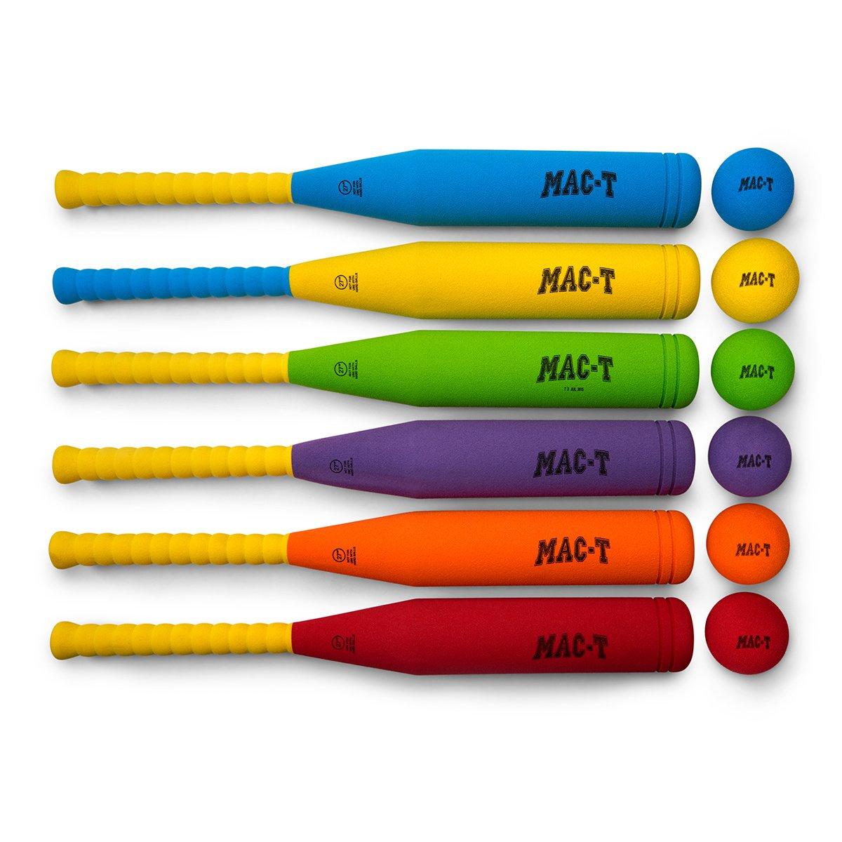 MAC-T PE08660 Foam Fat Bat and Baseball Set, 6 Balls, 6 Bats, Assorted Colors by MAC-T