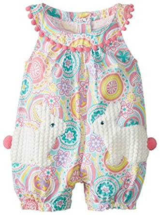 bf3d2847f Amazon.com: Mud Pie Baby-Girls Bunny Pocket Romper (9-12 months, Multi):  Clothing