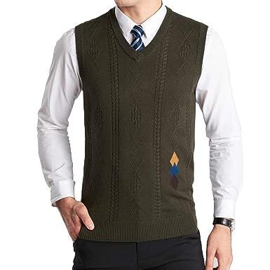 4be07a142dd608 YinQ Herren West Ärmellose Pullunder Strickweste V-Ausschnitt Einfarbig  Wollweste für Männer (Small,