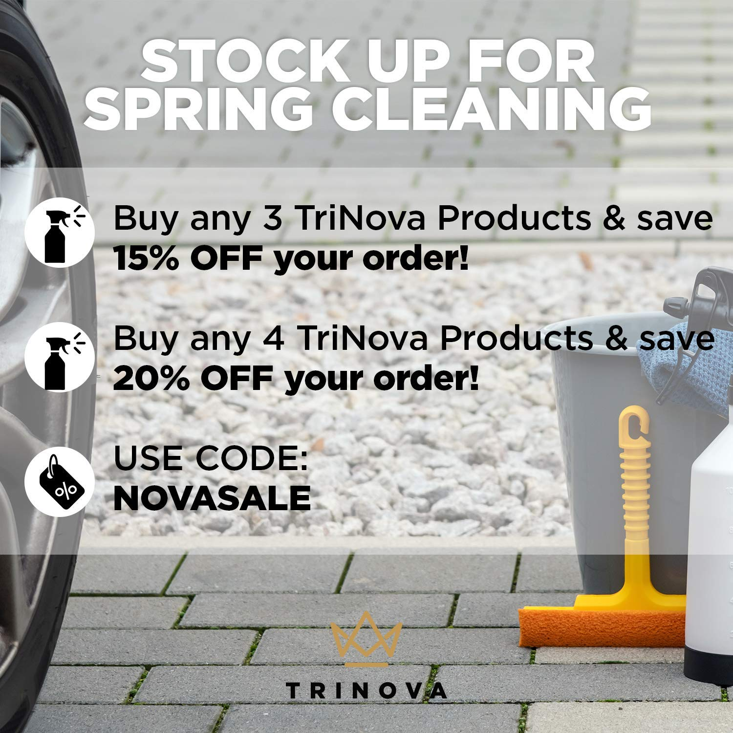 TriNova Tire Shine Gallon Size - Concentrate Leaves Brilliant Wet Looking Shine, Perfect for Detailer. Best Dressing for Slick Finish on Tires, Rubber, Wheels. Bulk gal 128oz