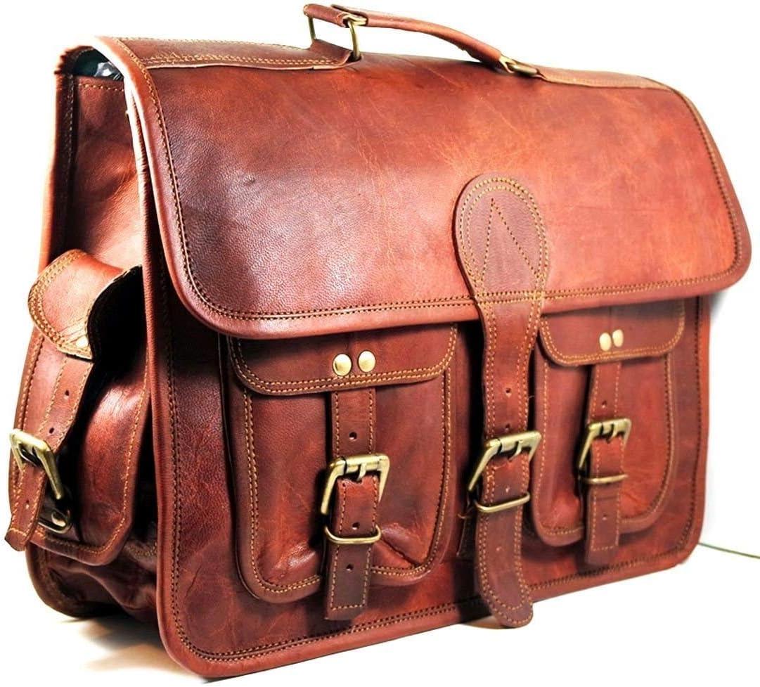 maletín de Cuero Bolsa de Mensajero portátil Bandolera para Hombres y Mujeres (18